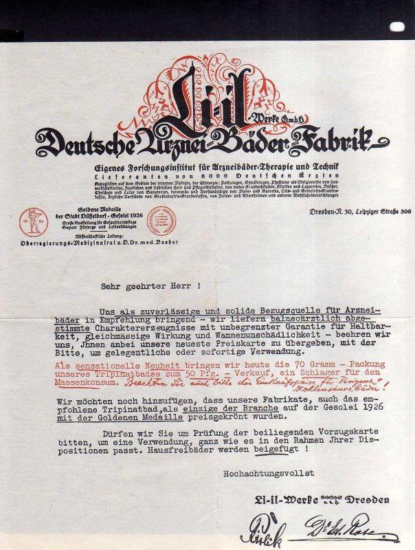 v543 Briefbogen Schreiben Dresden Li-il Werke Deutsche Arznei Bäder Fabrik