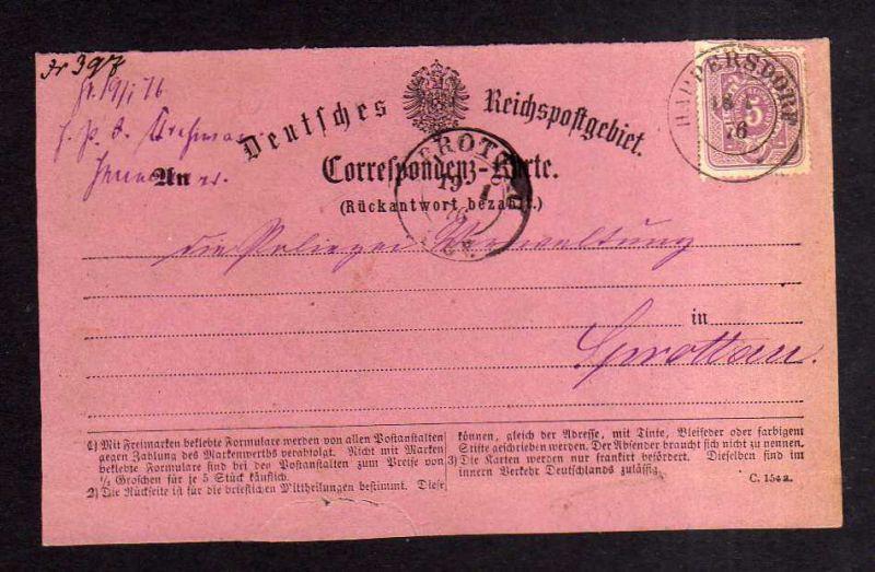 v222 Heimatsammlung Harpersdorf 1876 nach Sprottau Twardocice Schlesien Postkart