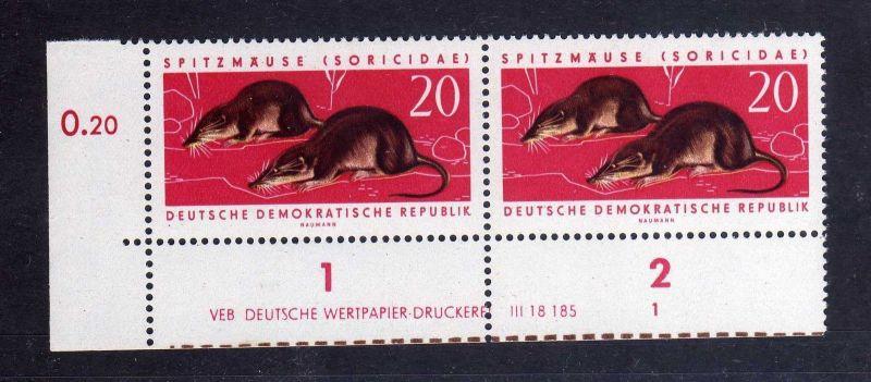 DDR 1962 871 DV Formnummer 1 Druckvermerk **  Geschützte Tiere Waldspitzmaus