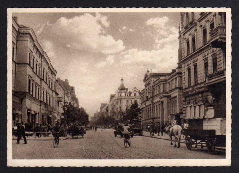 Ansichtskarte Bromberg Bydgoszcz Wpr. Straße Danziger Raifeisenbank 1942 Westpreußen
