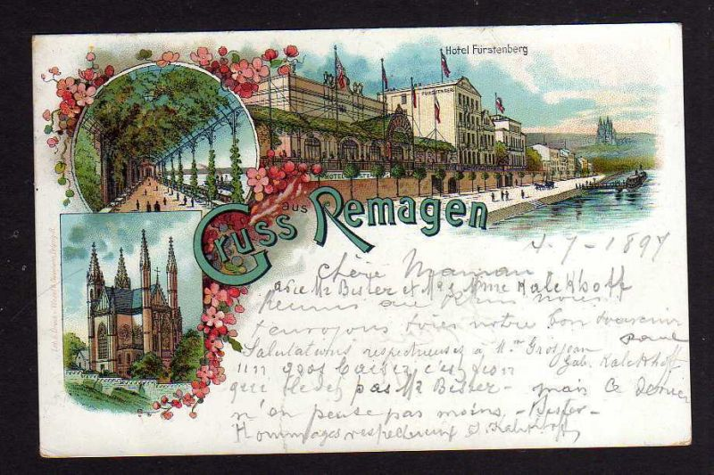 Ansichtskarte Remagen Litho Hotel Fürstenberg 1897