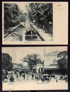 2 Ansichtskarte Colombo 1903 Ceylon Negombo Canal Pettah and Town Hall
