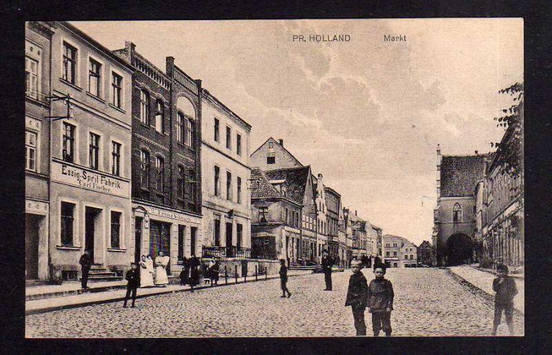 Ansichtskarte Preußisch Holland Ostpreußen 1919 Essig Sprit Fabrik Geschäft Franz Sch