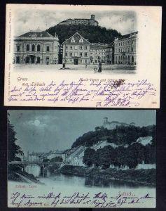 2 Ansichtskarte Ljubljana Laibach 1898 Castel Schloss Musikverein Geschäftshaus Kastn