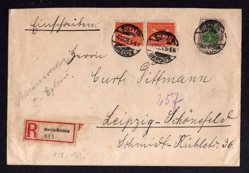 Brief Stettin Bredow 1921 Einschreiben nach Leipzig Schönfeld
