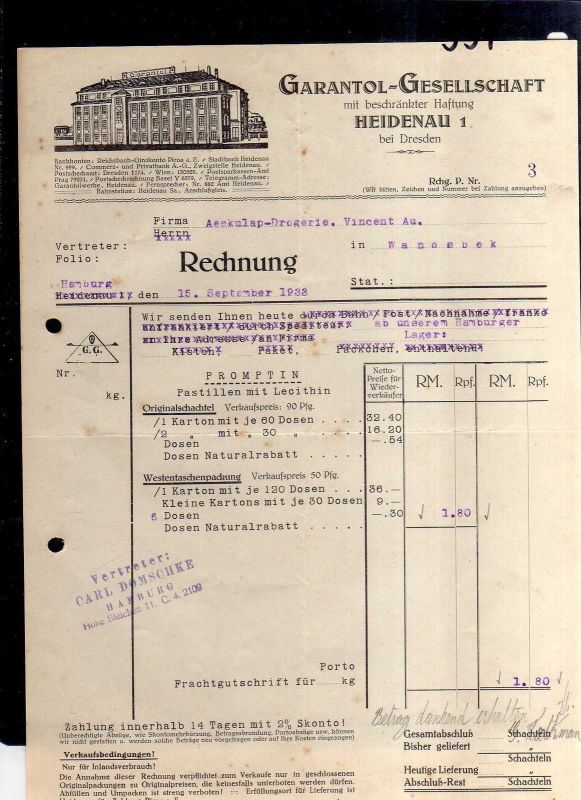 v551 Briefbogen Firmenrechnung Heidenau bei Dresden Garantol Gesellschaft 1933