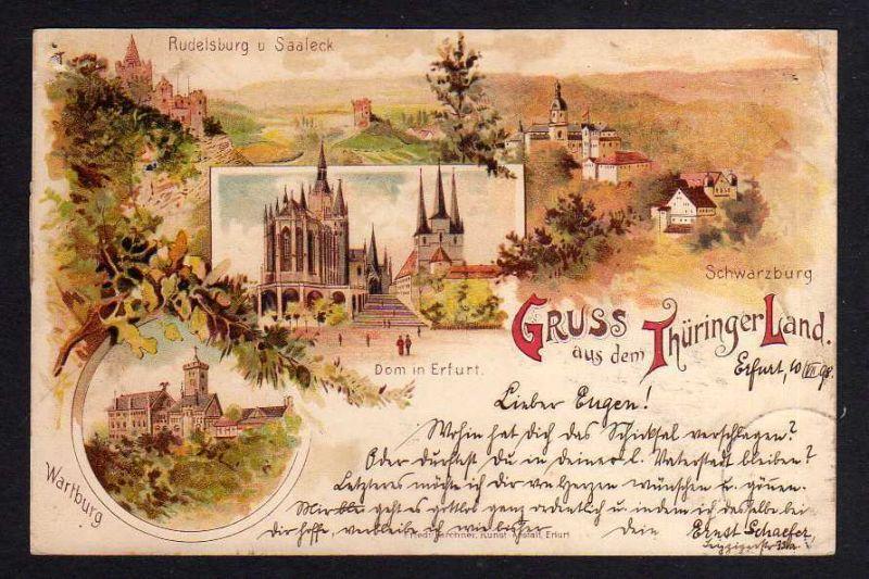 Ansichtskarte Litho Thüringer Land 1898 Schwarzburg Rudelsburg Saaleck Wartburg Erfur