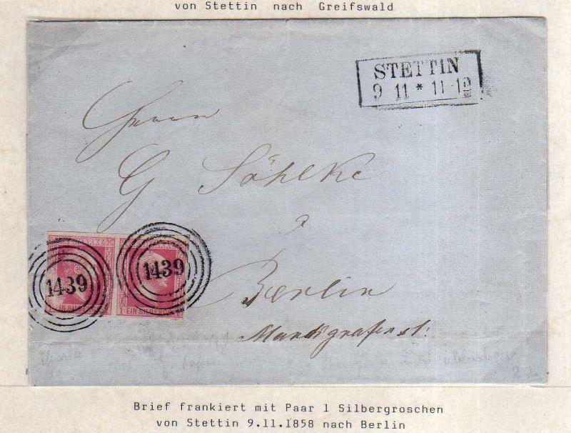 v066 aus Stettin Sammlung Preußen Brief Mi. 6 waag. Paar Nummernstempel 1439 nac