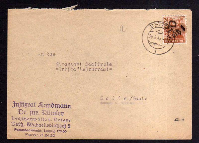 h803 Brief Handstempel Bezirk 20 Zeitz 2.7.48 Wetterzeube 2x24 Pfg. kopfstehende
