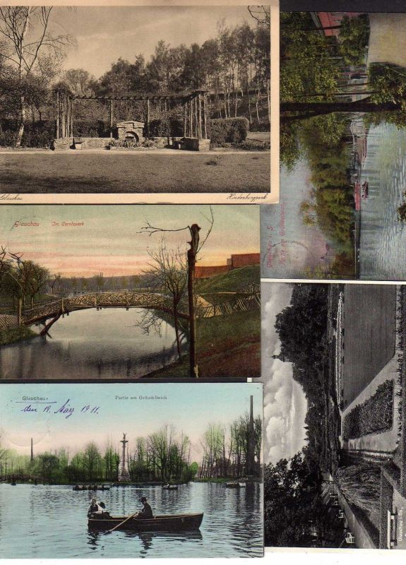 5 Ansichtskarte Glauchau Gründelteich 1911 Brücke Carolapark 1907 Rosarium 1937 Hinde