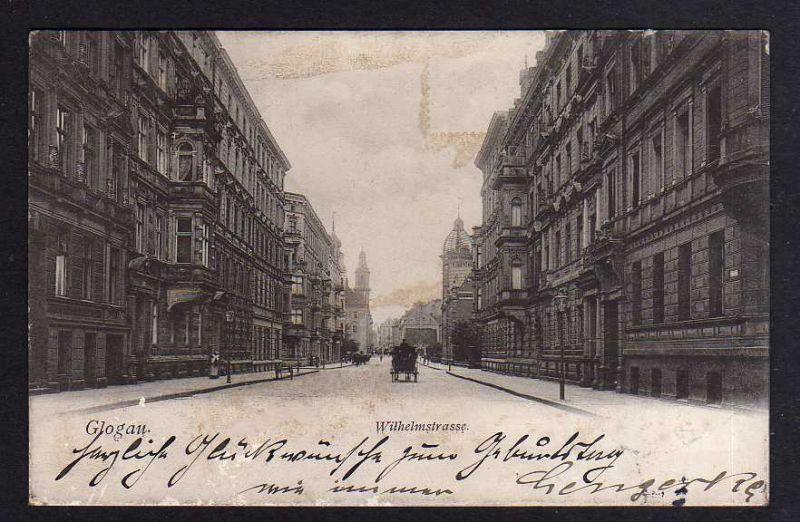 Ansichtskarte Glogau Glogow Wilhelmstrasse 1905