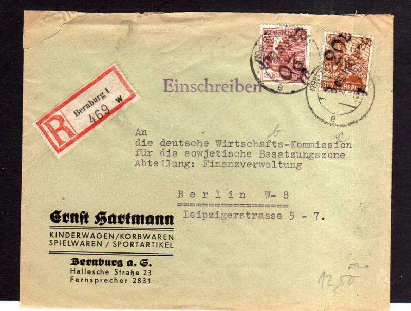 h664 Brief Handstempel Bezirk 20 Bernburg 30.6.48 Einschreiben an Deutsche Wirts