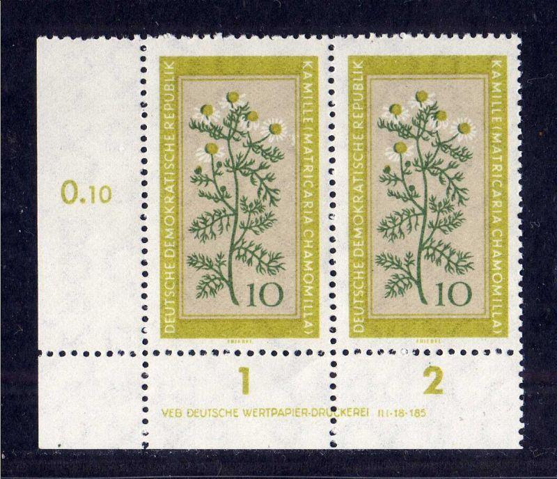 DDR 1960 758 DV Druckvermerk ** Kamille Heilpflanzen