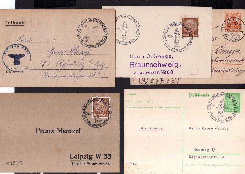 v217 Heimatsammlung Lähn Kreis Löwenberg Schlesien 1917 - 1944 SST Fedpost 5 Bel