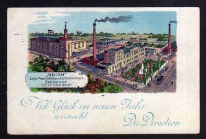Ansichtskarte Leipzig um 1900 Litho Union Brennerei AG aus Hille Technikmotive auf al