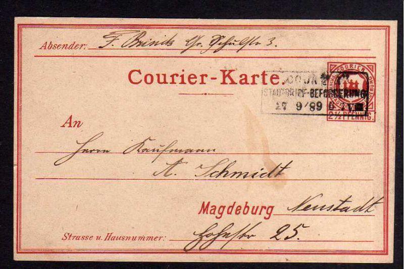 Ansichtskarte Magdeburg Pivatpost 1889 Stadtbrief Courier Karte