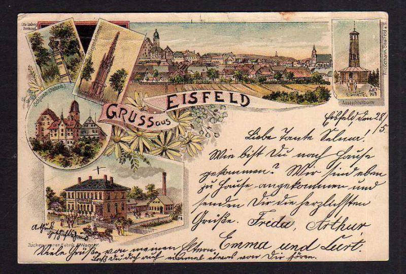Ansichtskarte Gruss aus Eisfeld Litho 1905 Zuckerwaren Fabrik Wagner Schloss Aussicht