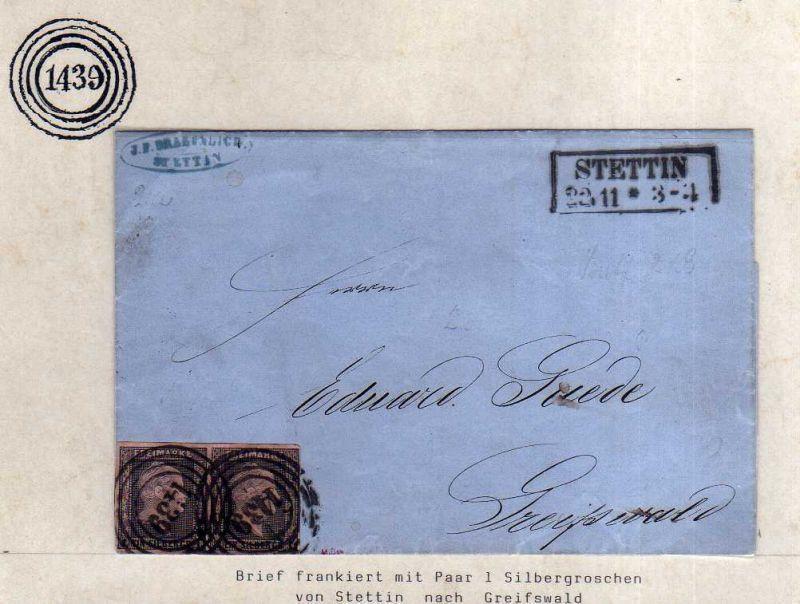 v065 aus Stettin Sammlung Preußen Brief Mi. 2 waag. Paar Nummernstempel 1439 nac