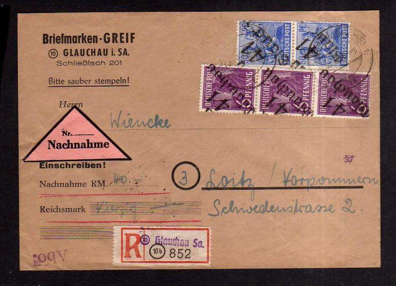 h2000 Handstempel Bezirk 41 Glauchau 30.6.48 Nachnahme Brief Einschreiben Loitz