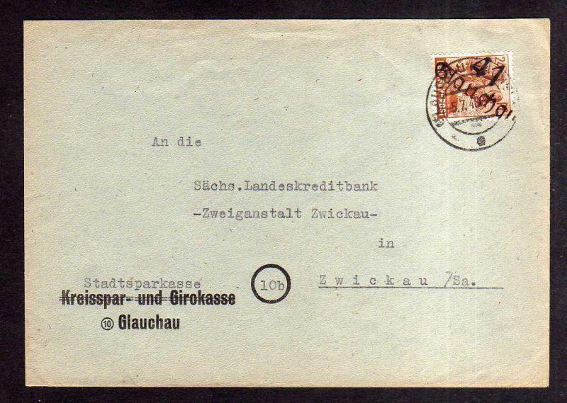 h1998 Handstempel Bezirk 41 Glauchau Brief 5.7.48 gepr. Herbst BPP Bedarf