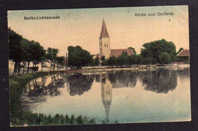 Karte Berlin Lichtenrade.Ansichtskarte Berlin Lichtenrade Kirche Und Dorfteich 1920 Verlag