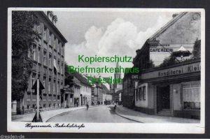 Ansichtskarte Hoyerswerda 1940 Bahnhofstraße Cafe Klein Konditorei Feldpost