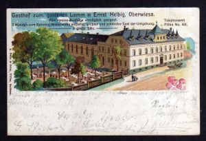Ansichtskarte Oberwiesa Litho 1907 Gasthof zum goldenen Lamm