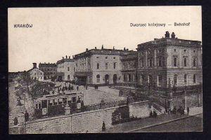 Ansichtskarte Krakow Krakau Bahnhof 1915