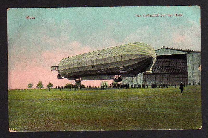 Ansichtskarte Zeppelin Luftschiffhalle Metz 1910 aus Hille Technikmotive auf alten An