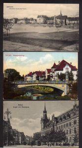 3 Ansichtskarte Erfurt Friedrich Wilhelm Platz mit Obelisk 1909 Pförtchenbrücke 1912