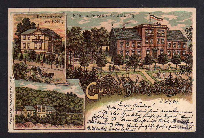 Ansichtskarte Litho Blankenburg Harz 1904 Hotel u. Pension Heidelberg Depandance