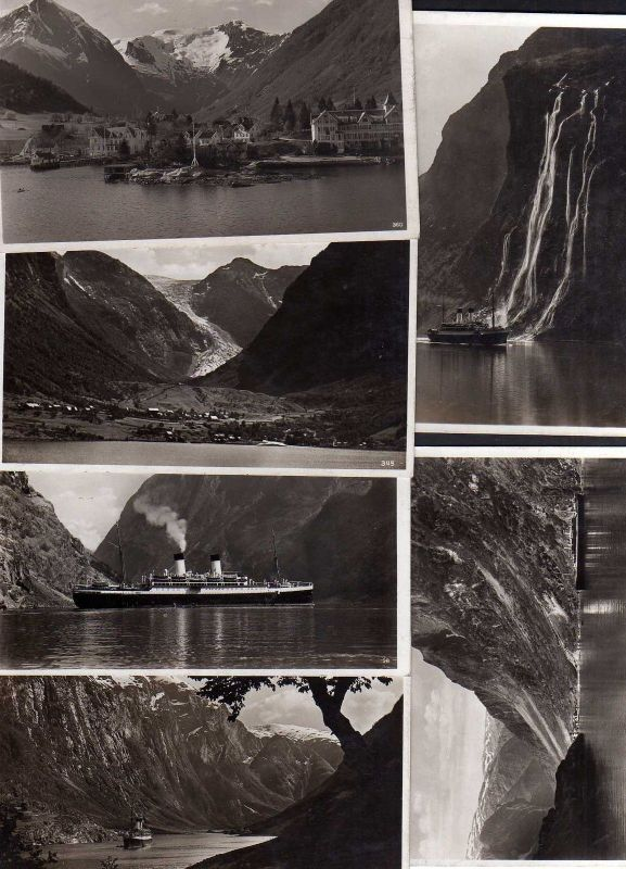 6 Ansichtskarte Norge Norwegen Nærøyfjord Sundalgletscher Maurangerfjord Balholm Sogn