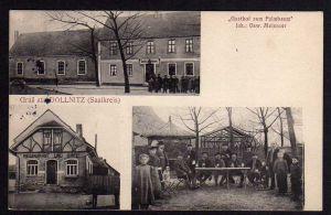 Ansichtskarte Döllnitz Schkopau Saalekreis Gasthof zum Palmbaum 1913 Restaurant Cafe