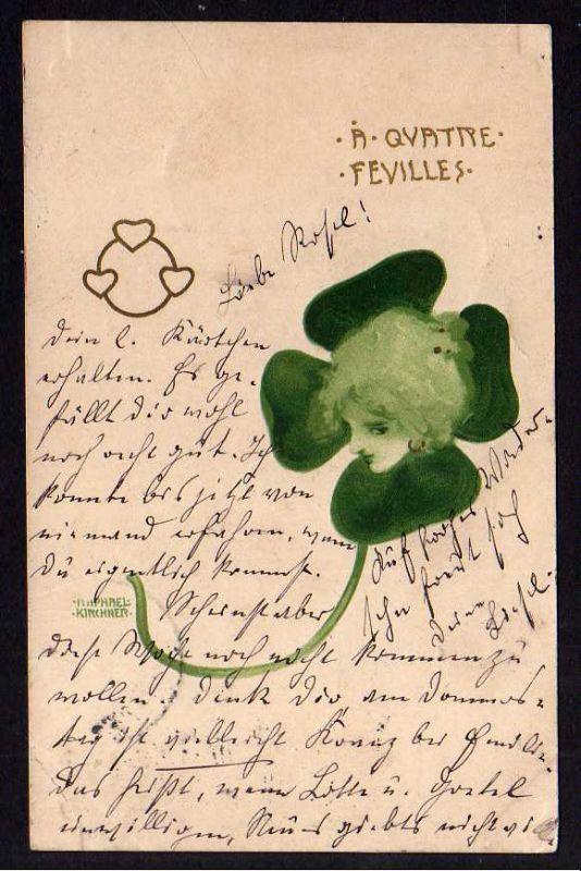 Ansichtskarte Künstlerkarte Raphael Kirchner 1900 A Quattpe Feuilles