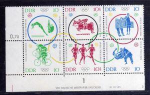 DDR 1964 1039 - 1044 DV Druckvermerk FN 2 ** Olympische Sommerspiele Tokio