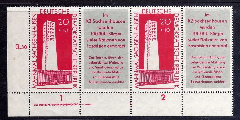 DDR 783b Zusammendruck ** DV FN 3 KZ Sachenhausen