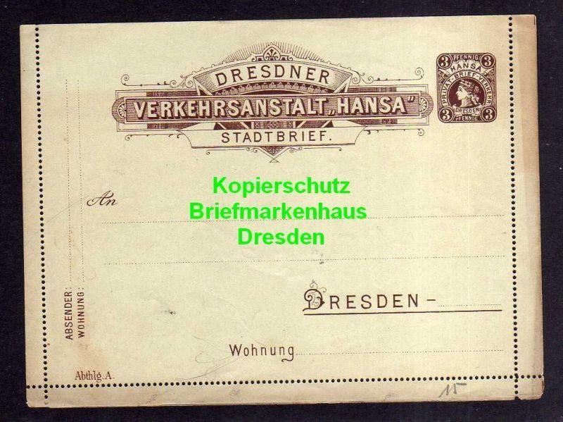 Privatpost Hansa Dresden Ganzsache Stadtbrief grünlich