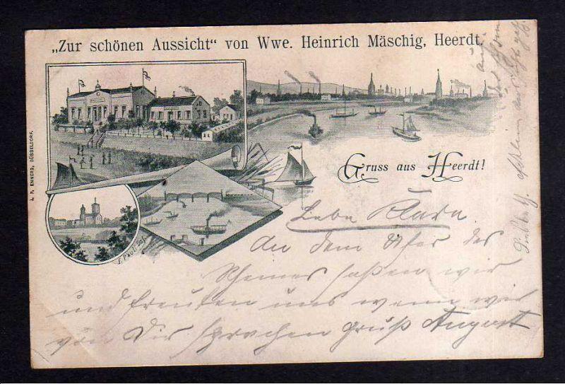 Ansichtskarte Düsseldorf Heerdt 1898 Gasthaus Restaurant zur schönen Aussicht Wwe. H