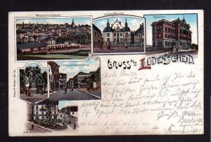 Ansichtskarte Lüdenscheid Litho 1899 Bahnhof Schloss Neuenhof Gymnasium Wilhelmstr.