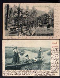 2 Ansichtskarte Spreewald 1901 Gasthaus Lübbenau Künstlerkarte Heimkehr von der Arbe