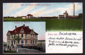 Ansichtskarte Dieskau Gasthaus am Bahnhof Zwintschöna Schacht Bergbau 1907
