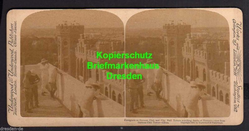 Stereo Bild Tientsin China Litho 1901 Foreignerson German Club and City H
