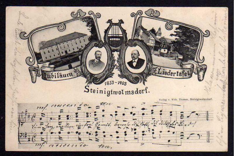 Ansichtskarte Steinigtwolmsdorf 1903 Jubiläum 50 Jahre Liedertafel Noten