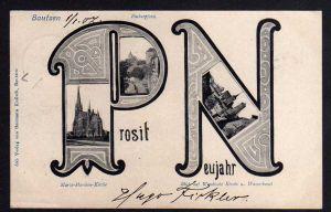 Ansichtskarte Bautzen 1906 Prosit Neujahr Fischerpforte Maria Marthen Kirche Wendisch