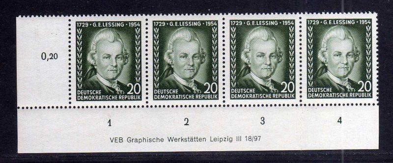 DDR 423 Lessing 1954 postfrisch mit Druckvermerk DV