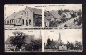 Ansichtskarte Siedenbollentin Pfarrhaus Kirche Poststrasse Geschäftshaus Wodrich um