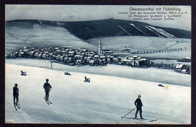 Ansichtskarte Oberwiesenthal Wintersport Ski Schi Schlitten