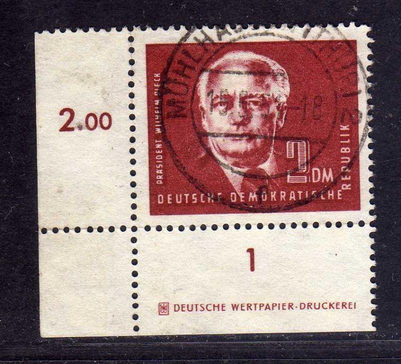 DDR 1950 254a 2.- Pieck gestempelt DZ Druckereizeichen Deutsche Wertpapier D