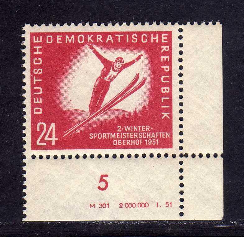 DDR 1951 281 DV Druckvermerk ** Oberhof allseits durchgezähnt