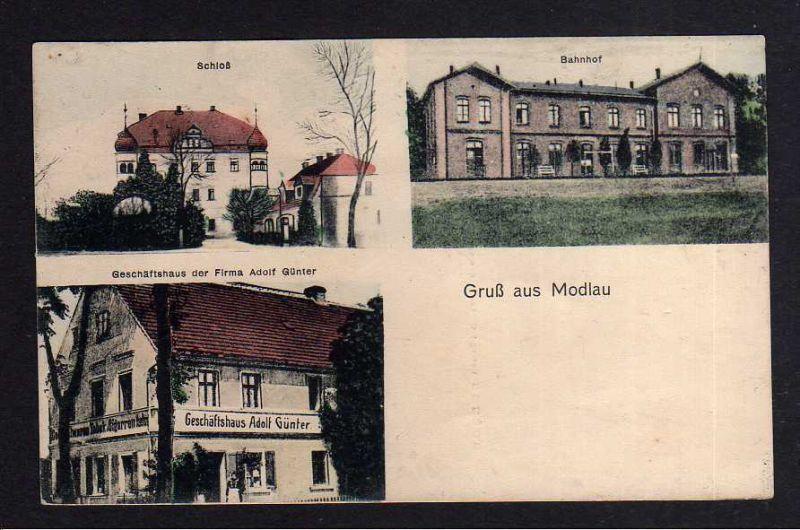 Ansichtskarte Modlau bei Haynau Schlesien Modla 1921 Bahnhof Schloß Geschäftshaus Ad